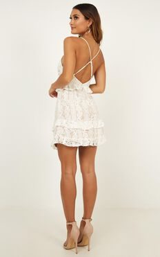 Roaming Free Dress In White Lace