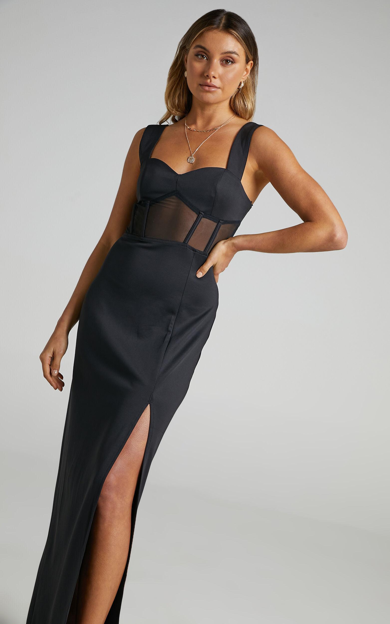 Perrie Mesh Corset Maxi Dress in Black - 06, BLK1, super-hi-res image number null