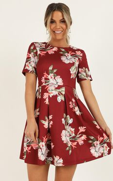 Meet the Parents Dress In  Wine Floral
