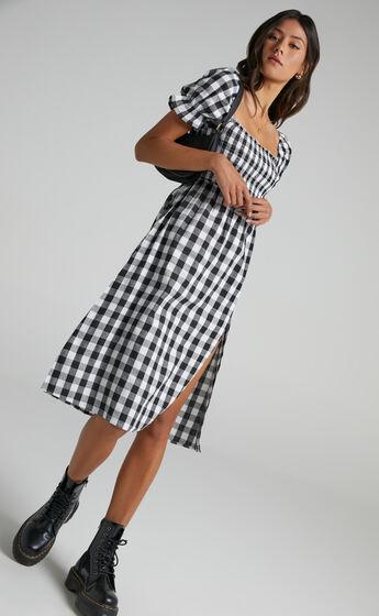 Lowe Dress in Black Check