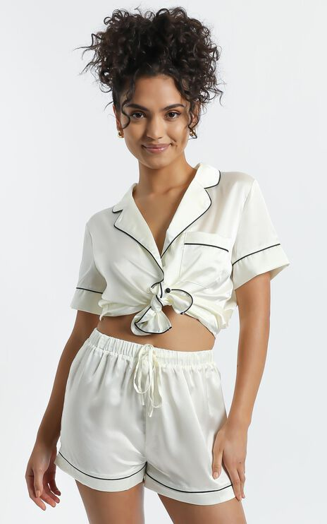 Sleep All Day Shorts in Ivory Satin