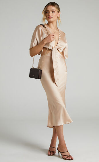 Elyse Tie Front Two Piece Set in Champagne