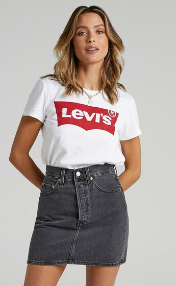 Levis - Ribcage Denim Skirt in Washed Noir Black