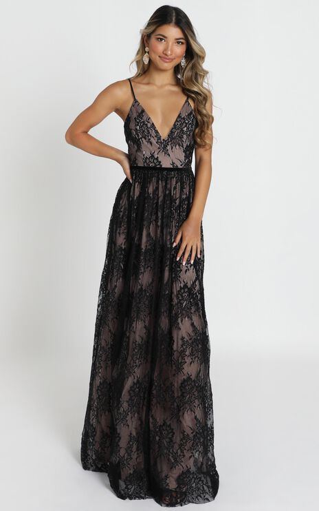 Emilia Maxi Dress In Black Lace