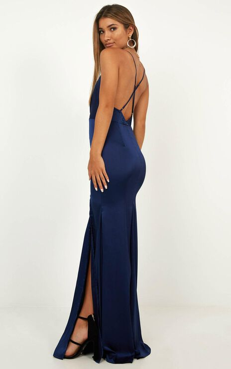 Crazy About Me Dress In Navy Satin