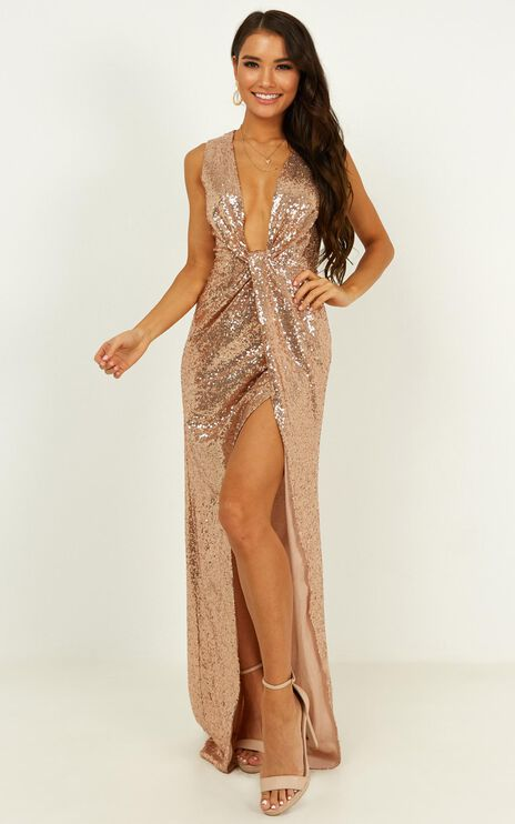 Shine A Light Dress In Champagne Sequin