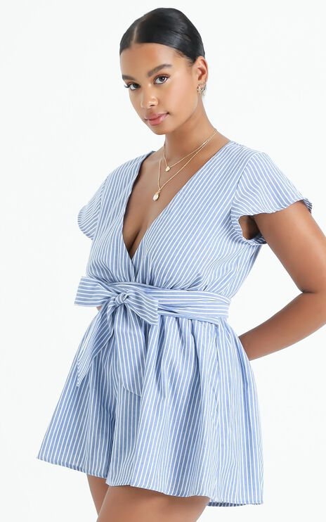 Top It Off Playsuit In Blue Stripe