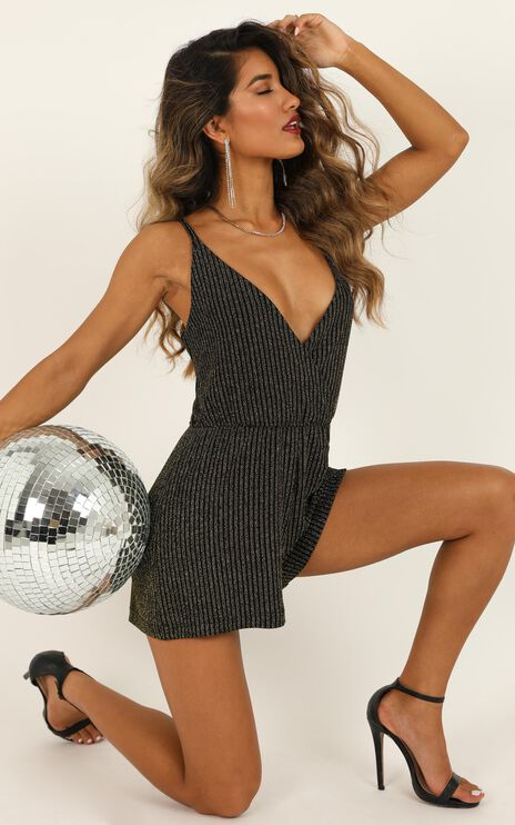 Lets Boogie Playsuit In Black Lurex