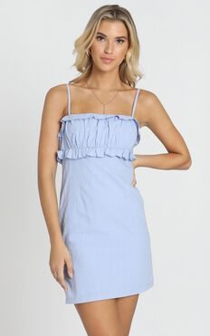 Lifes Not Simple Dress In Blue Linen Look