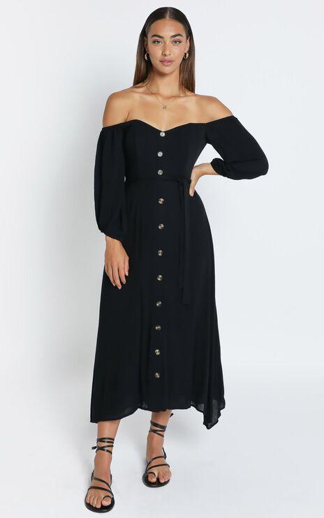 Sorrento Dreaming Dress in Black Linen Look