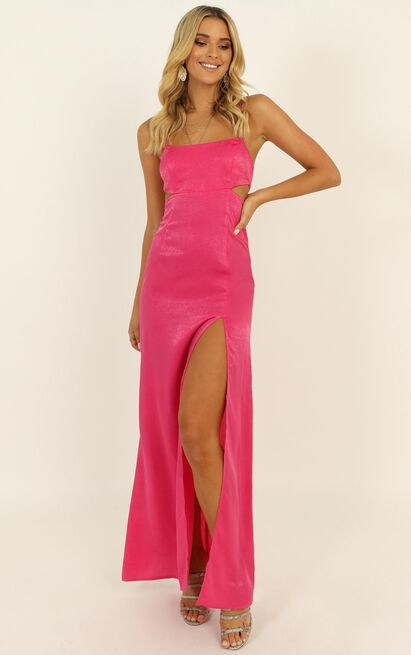 A Special Mention Dress in hot pink satin - 14 (XL), Pink, hi-res image number null