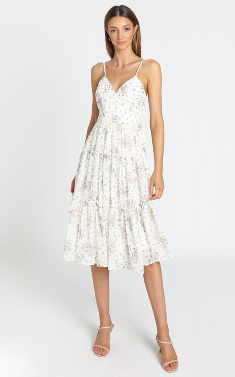 By Her Side Dress in White Floral
