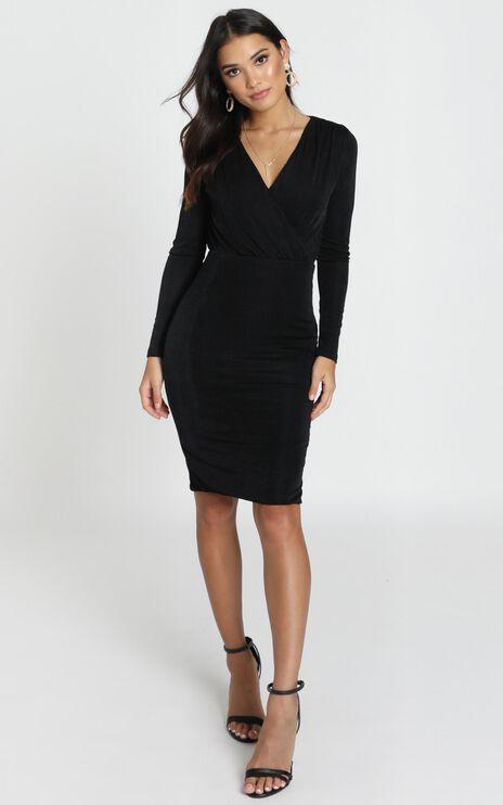 Sera Dress in Black Satin
