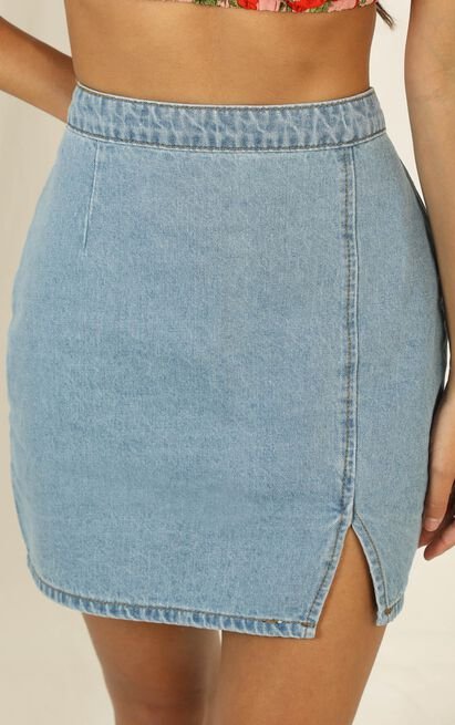 Not Kidding Around Skirt in light vintage wash denim - 20 (XXXXL), Blue, hi-res image number null