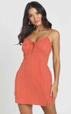 Astrid Textured Mini Dress In Burnt Orange