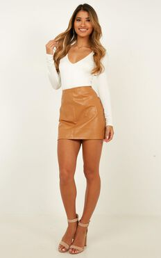 Not Stopping Skirt In Camel Leatherette