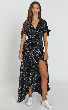 Picking It Up Maxi Wrap Dress In Dark Navy Floral