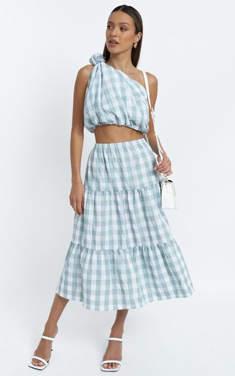 Thea Two Piece Set in Sage Check