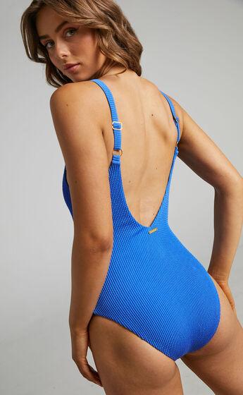 Meilani Textured Scoop Neckline One Piece in Blue