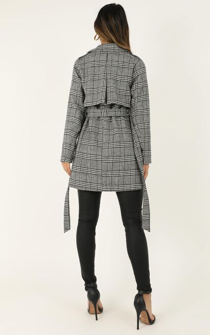 Stay Beside Me coat in grey check - 14 (XL), Grey, hi-res image number null