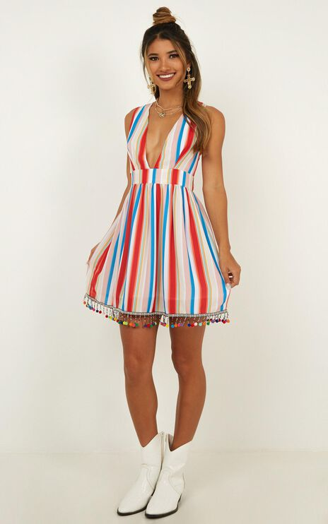 Surrender To The Night Dress In Rainbow Stripe