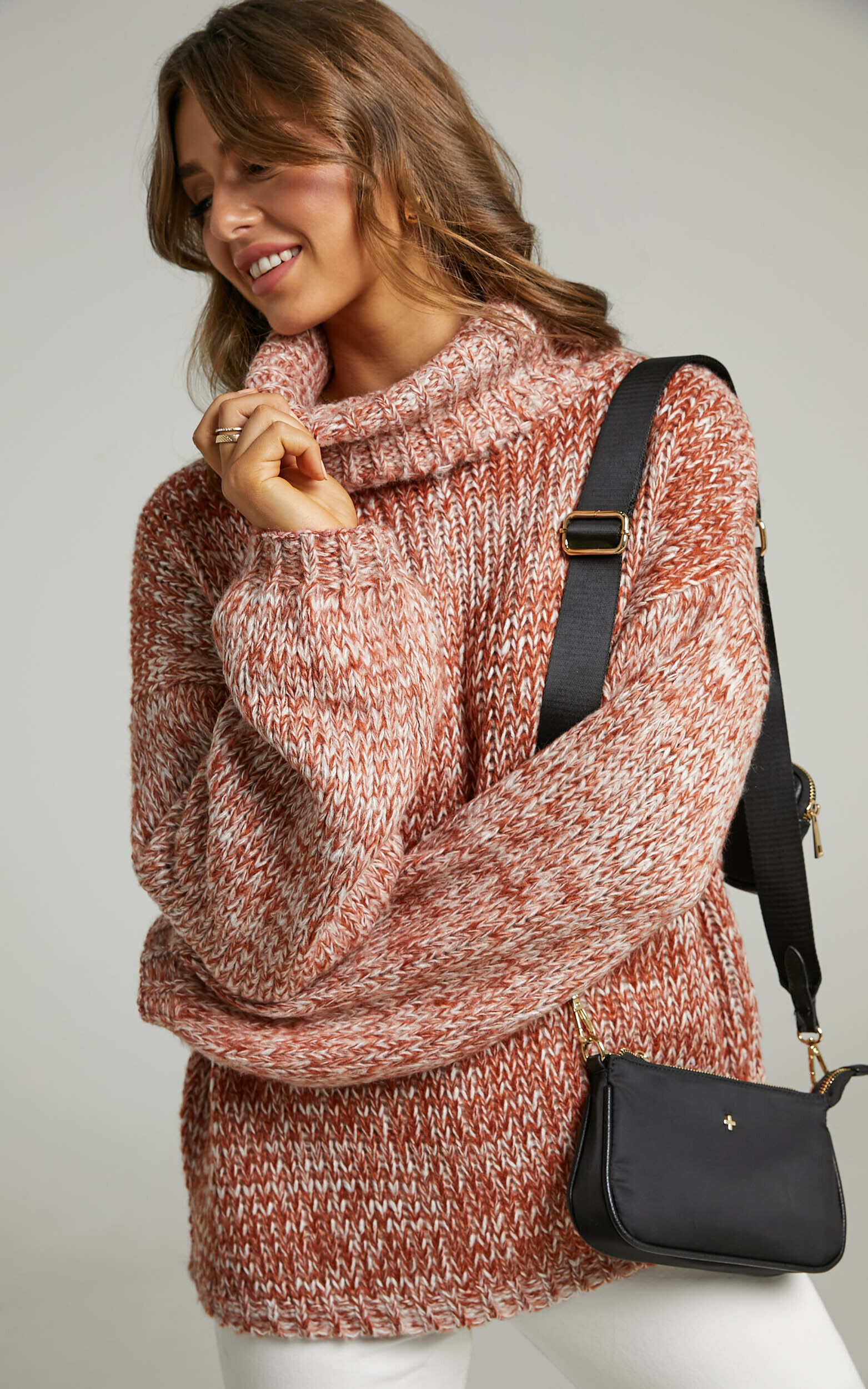 Juney Oversized Knit Jumper with High Neck and Balloon Sleeves in Beige - 06, BRN1, super-hi-res image number null