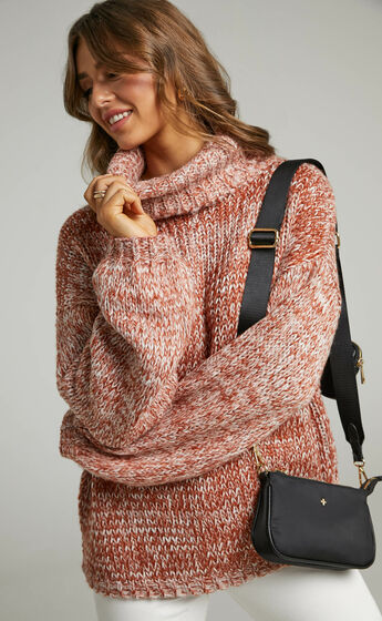 Juney Oversized Knit Jumper with High Neck and Balloon Sleeves in Beige