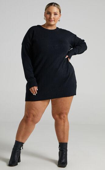 Shanisse Open Back Mini Knit Dress in Black