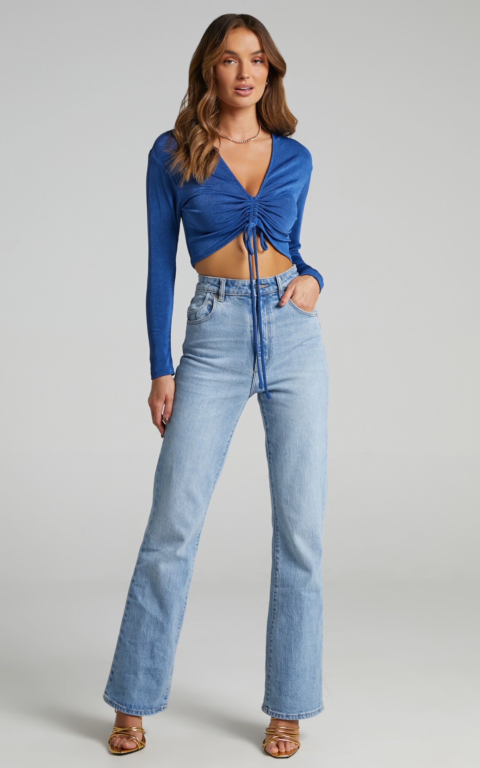 Luciana Rouched Front Top in Cobalt - 20, BLU1, super-hi-res image number null