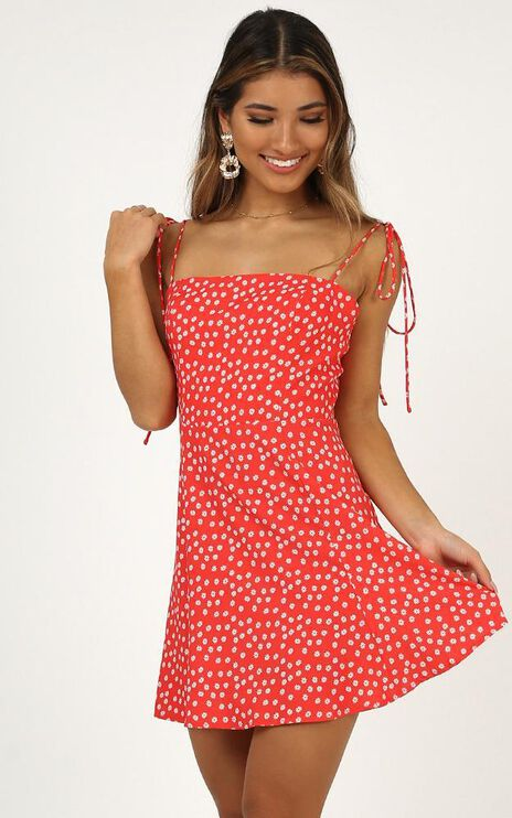 Can Hardly Wait Dress In Red Print