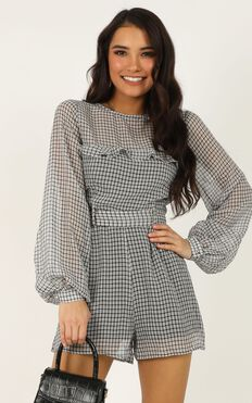 Time Well Spent Playsuit In Black Check