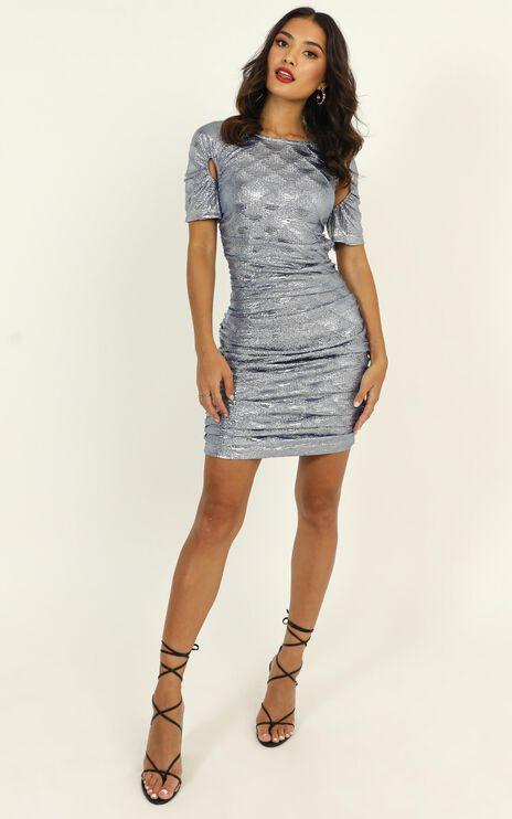 Lioness - Just An Option Dress In Blue Metallic