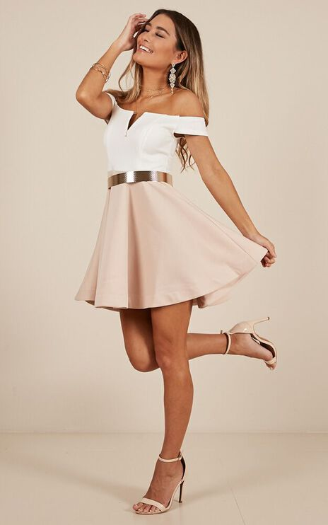 Meet Me Dress In White And Mocha