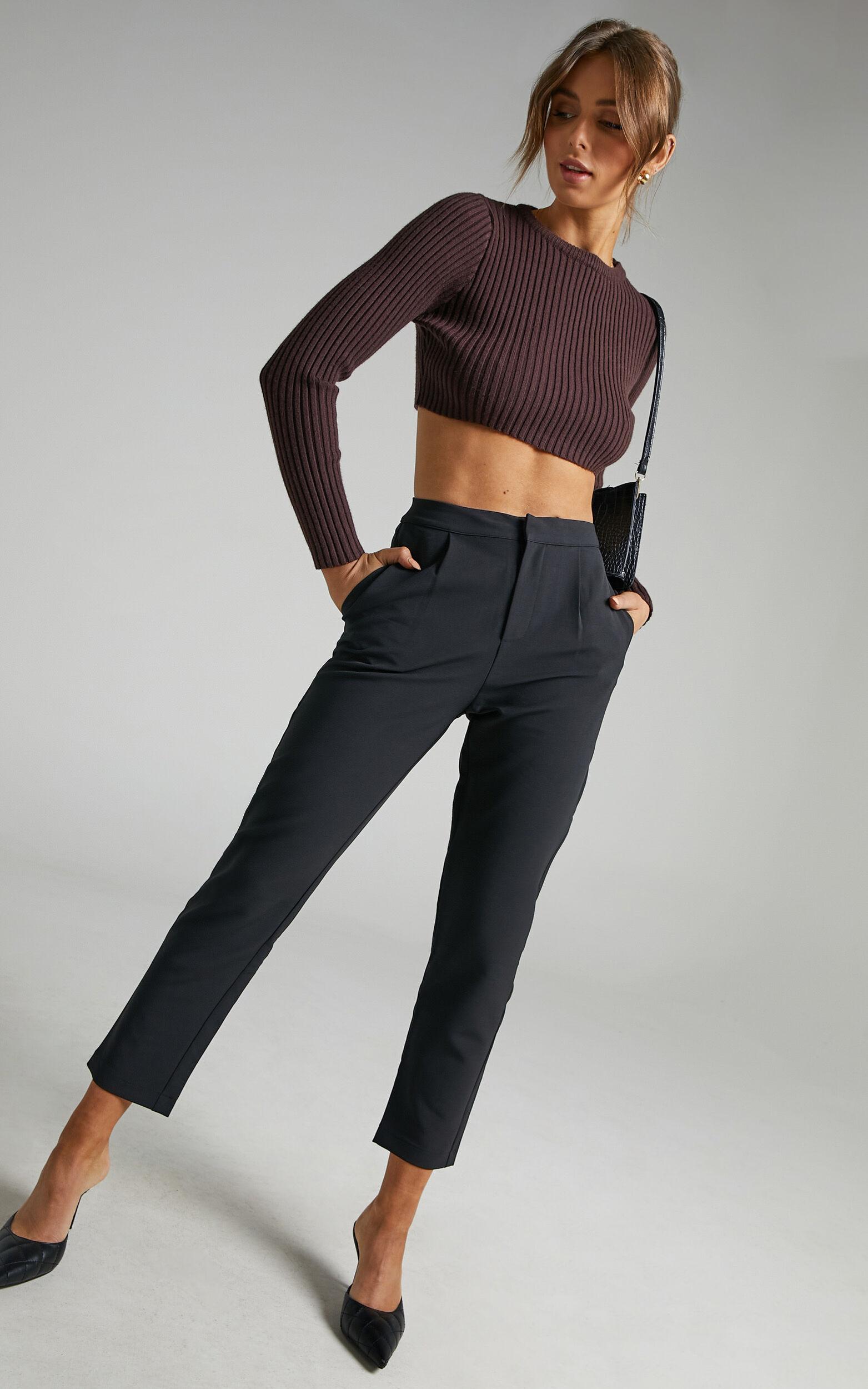 Damika Cropped Pin Tuck Pants in Black - 04, BLK1, super-hi-res image number null