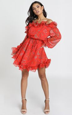 Lucinda Dress In Red Print