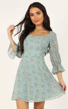 Fortunate Life Dress In Teal Floral