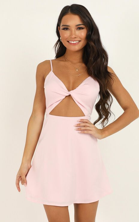 Hold You In My Palm Dress In Baby Pink Satin