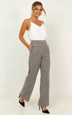 Keep It Short Pants In Grey Pin Stripe