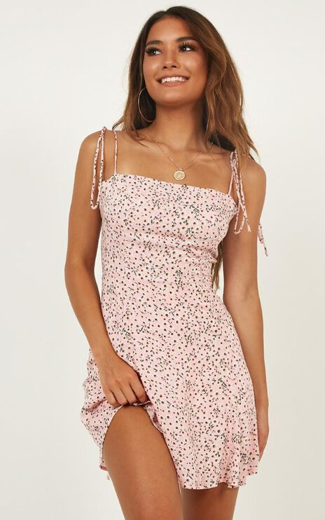 Roll With Me Dress In Pink Floral