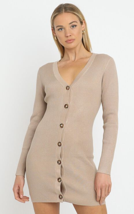 Earie Knit Dress in Beige