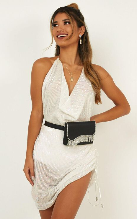 Howling Mini Dress In White Sequin