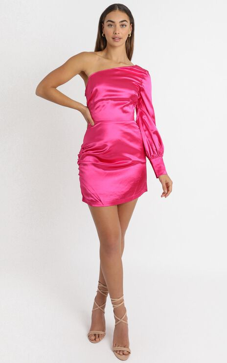 Eve One Shoulder Mini Dress in Hot Pink Satin