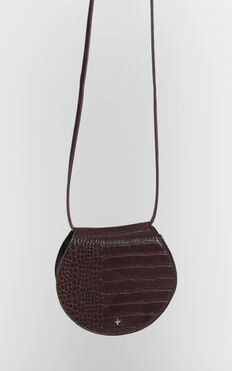 Peta And Jain - Venice Saddle Bag In Choc Brown Croc