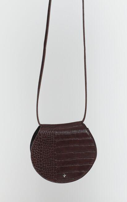 Peta And Jain - Venice Saddle Bag In Choc Brown Croc, , hi-res image number null