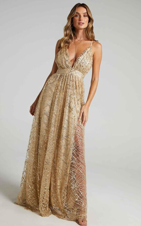 Eternal Sunshine Maxi Dress In Gold Sequin Tulle