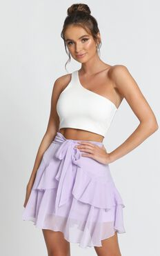 Leanna Wrap Mini Skirt In Lilac