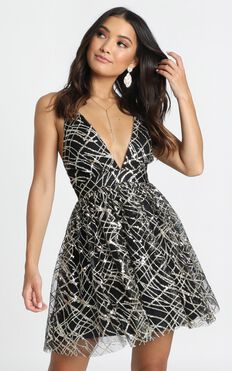 Spiritual Connection Dress In Black Sequin