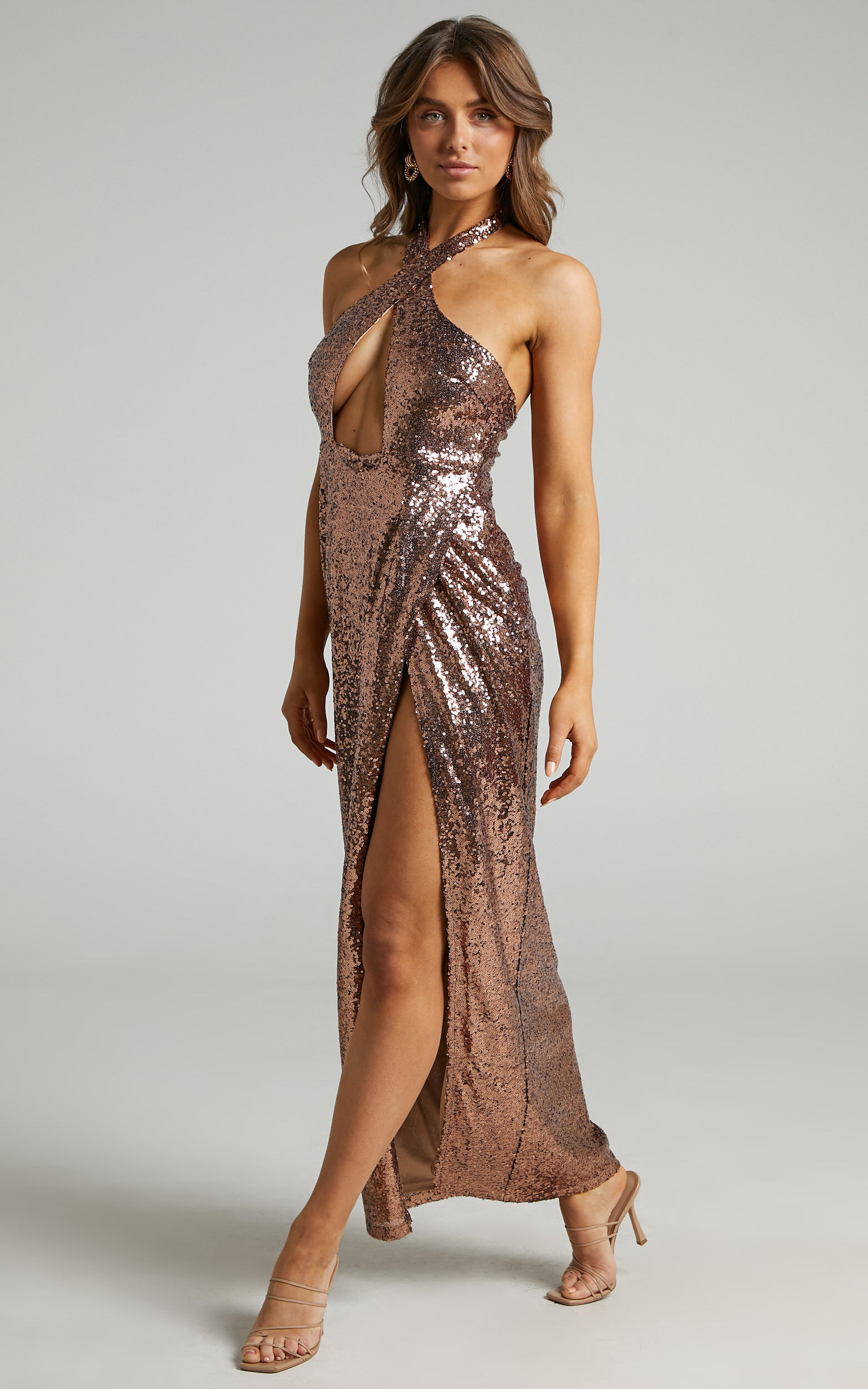 Cansas Halterneck Cut Out Maxi Dress in Chocolate Sequin - 06, BRN1, super-hi-res image number null