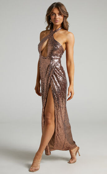 Cansas Halterneck Cut Out Maxi Dress in Chocolate Sequin