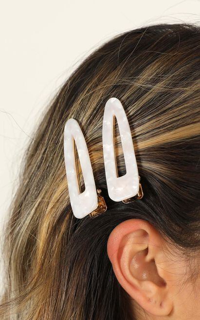 Moonlight Madness Hair Clips In White, White, hi-res image number null